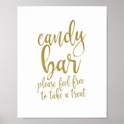 Candy Bar Gold Glitter Script 8x10 Wedding Sign