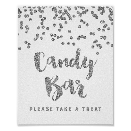 Candy Bar Wedding or Shower Sign Silver Confetti