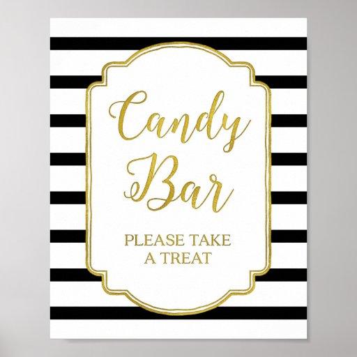 Candy Bar Wedding Shower Sign Gold Black Stripes