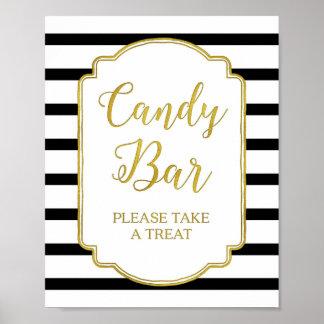 Candy Bar Wedding Shower Sign Gold Black Stripes Poster