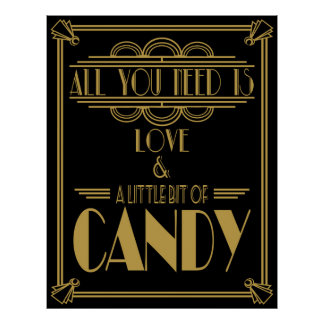Candy Bar wedding sign Art deco style Black & Gold Poster