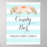 Candy Bar Wedding Sign Blue Flowers Stripes