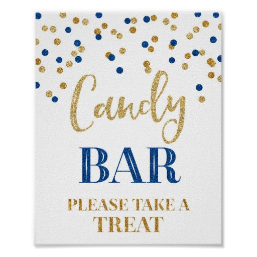 Candy Bar Wedding Sign Gold Navy Blue Confetti