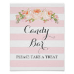 Candy Bar Wedding Sign Pink Flowers Stripes