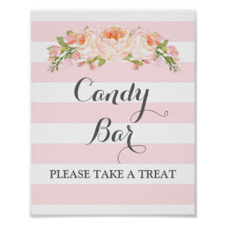 Candy Bar Wedding Sign Pink Flowers Stripes Poster