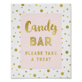 Candy Bar Wedding Sign Pink Gold Stripes