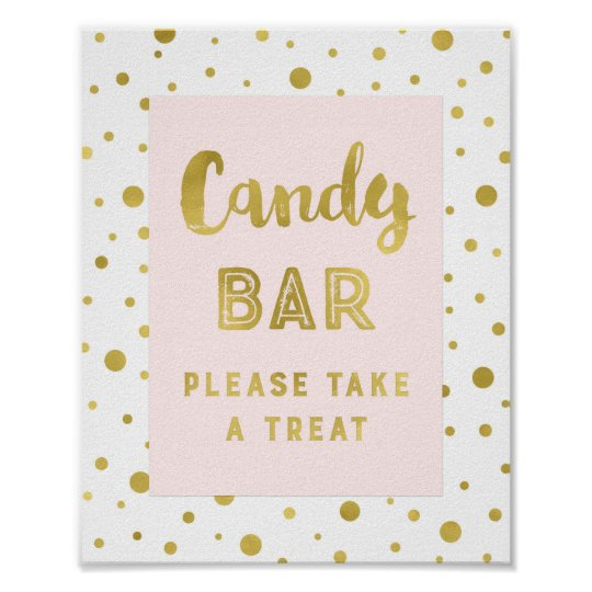 Candy Bar Wedding Sign Pink Gold Stripes Poster