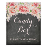 Candy Bar Wedding Sign Pink Watercolor Chalkboard