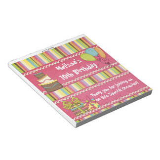 Candy Bar Wrapper Pink Birthday Party Favor Notepad