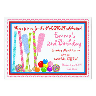Candy Birthday Invitations