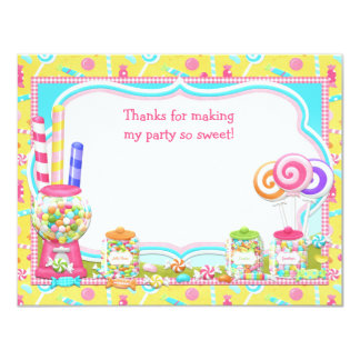 Candy Birthday Party Thank You Card 11 Cm X 14 Cm Invitation Card