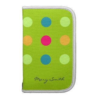 Candy Blue Polka Dot Custom Name Green Organizers