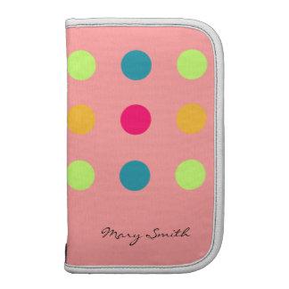 Candy Blue Polka Dot Custom Name Pink Folio Planner