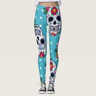 candy blue sugar skull leggings
