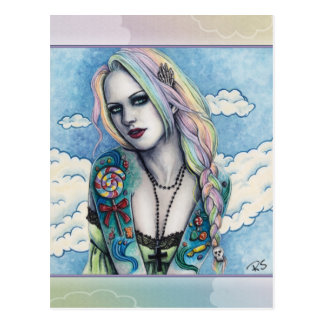 Candy Bubblegoth Pastel Goth tattoos Girl Rainbow Postcard