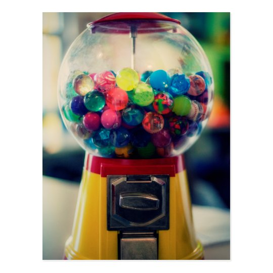 Candy bubblegum toy machine retro postcard