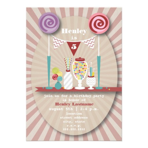Candy Buffet Birthday Party Invitation