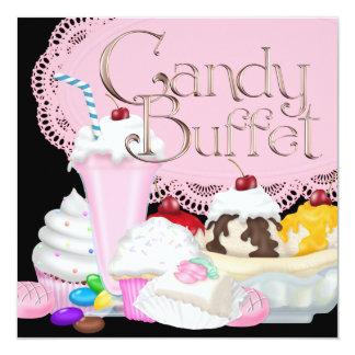 "Candy Buffet Party Invitation Template 5.25"" Square Invitation Card"