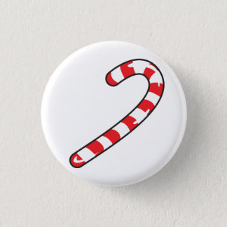 candy cane 3 cm round badge