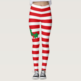 Candy Cane and Holly Festive Christmas Leggings