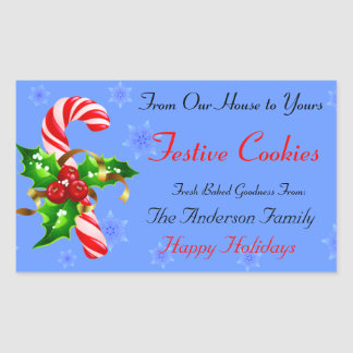 Candy Cane and Holly Holiday Food Rectangular Sticker