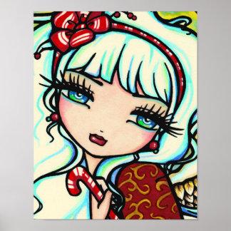 Candy Cane Angel Art by Hannah Lynn Poster