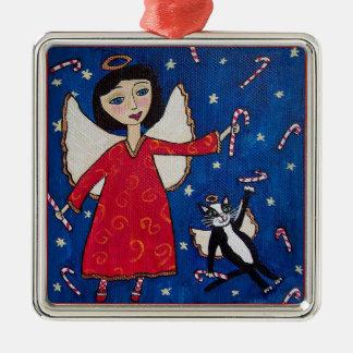Candy Cane Angel Cat Christmas Folk Art Christmas Ornament