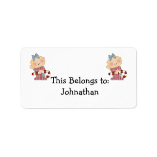 candy cane baby girl 2 address label
