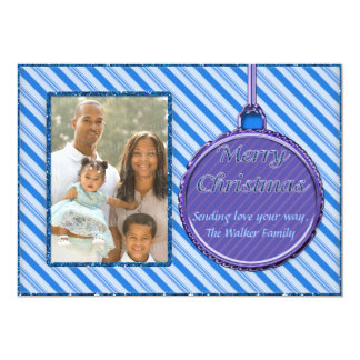 "Candy Cane Blue Christmas Ornament Photo Card 5"" X 7"" Invitation Card"