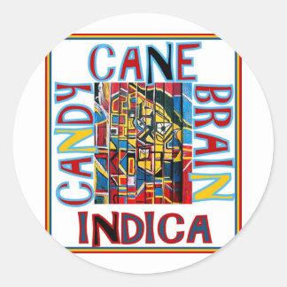 CANDY CANE BRAIN INDICA ROUND STICKER