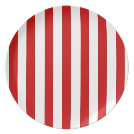 Candy Cane Bright Red Stripes Gift Collection Plate