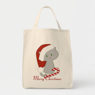 Candy Cane Cat Tote Grocery Tote Bag
