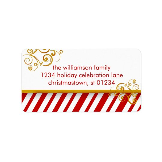 Candy Cane Christmas Address Labels