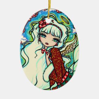 Candy Cane Christmas Angel Fairy Art Christmas Ornament