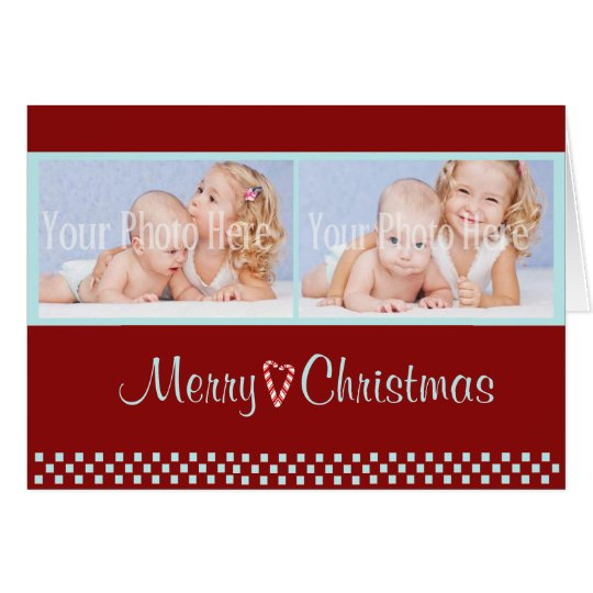Candy Cane Christmas Double Photo Red Card