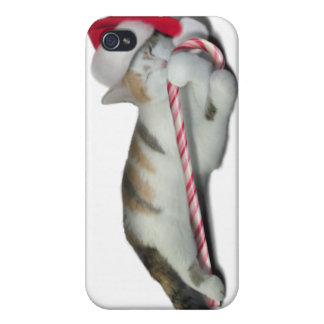 Candy Cane Christmas Kitty Cases For iPhone 4