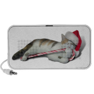 Candy Cane Christmas Kitty Laptop Speakers