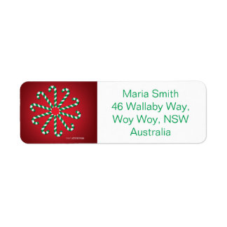 Candy cane circle return address label