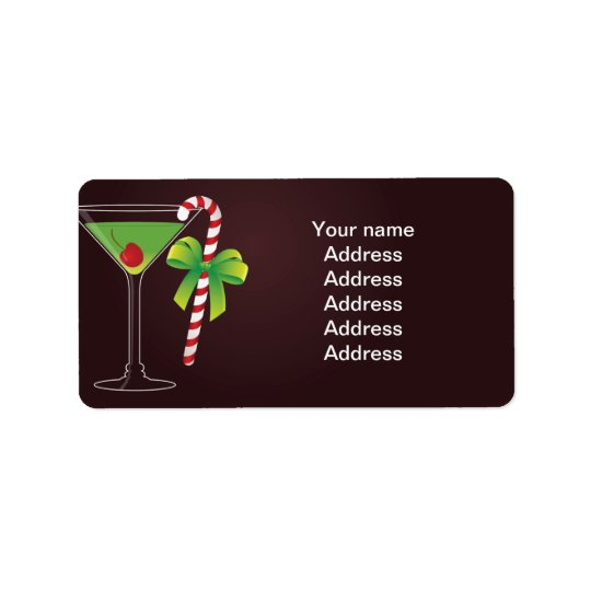 Candy Cane Cocktail Christmas Address Label
