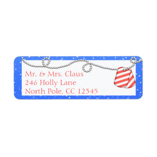 Candy Cane Dog Tags Return Address Labels