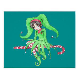 Candy Cane Elf Poster
