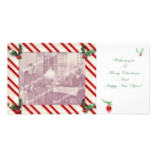 Candy Cane Frame Christmas Photocard Personalised Photo Card