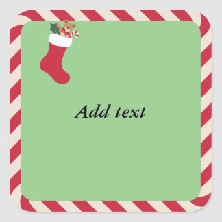 Candy Cane Frame with Christmas Stocking template Square Sticker