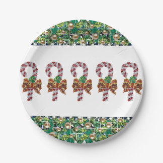 Candy Cane Gems Paper Plate