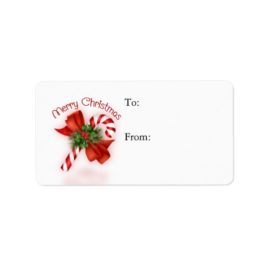 Candy Cane Gift Tag - Label Address Label