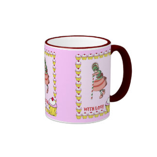 Candy cane girl with cupcakes coffee mugs