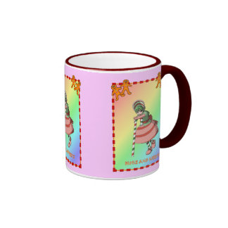 Candy cane girl with gingerbread mugs