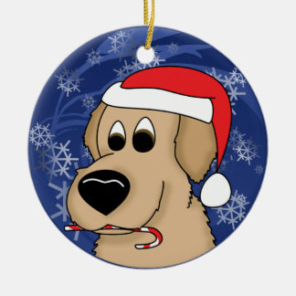 Candy Cane Golden Retriever Christmas Ornament