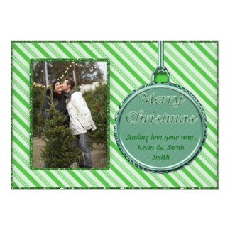 "Candy Cane Green Christmas Ornament Photo Card 5"" X 7"" Invitation Card"