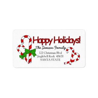 Candy Cane Happy Holidays address label